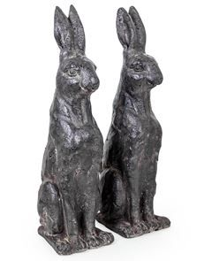 Garden Statues – Pair of Rustic Rabbit