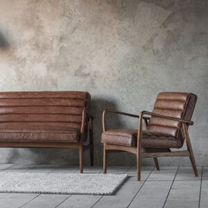 Stylish Leather and Oak Two Seater – Tan