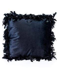Classic Black Feather Edged Cushion