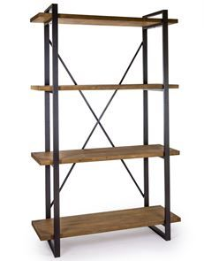 Industrial Style Black Metal & Wood Shelf Unit