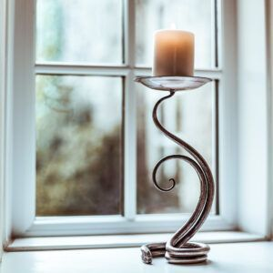 Hand forged Candle Stick Climbing Leaf Design
