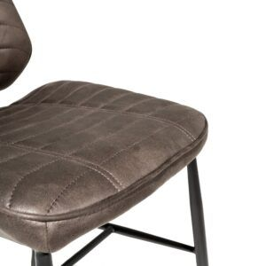 Vegan Leather Retro Style Dining Chair-Grey (pair)