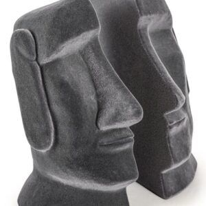Stunning Grey Flock Easter Island Bookends
