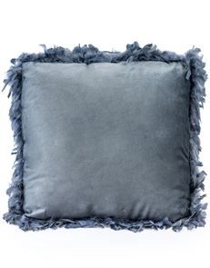Classic Silver Grey Feather Edged Cushion