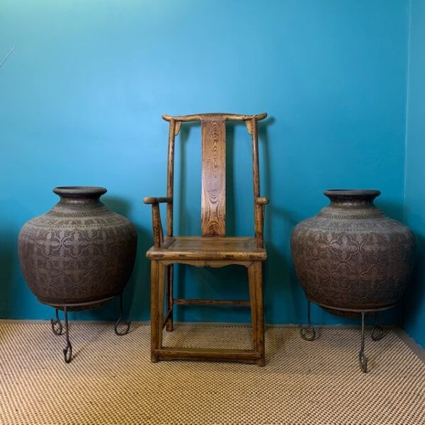 Yoke back chair and copper pots 2
