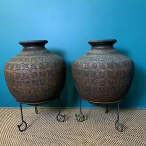 Large Pair of Copper Malaysian Pots on Stands